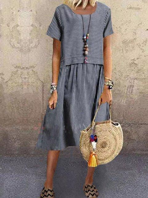 Blue Crew Neck Cotton-Blend Short Sleeve Dresses
