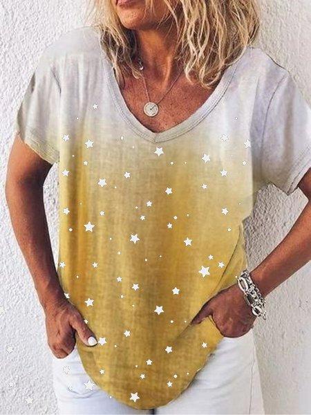 Star print T-shirt gradient V-neck top