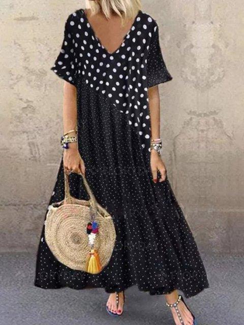 Black Casual Crew Neck Cotton-Blend Polka Dots Dresses