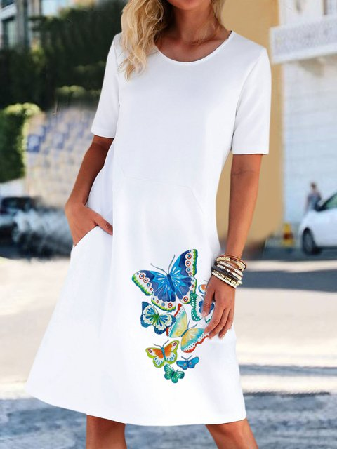 Casual Butterfly Print Pocket Midi Dresses