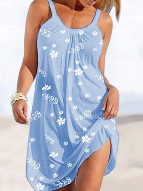 Sky Blue Boho Shift Mini Dresses