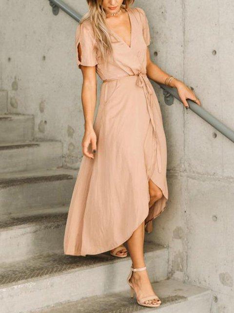 Summer V-neck Sexy Casual Wrap Maxi Dress