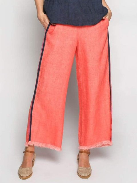 Women Pockets Trousers Paneled Solid Pants