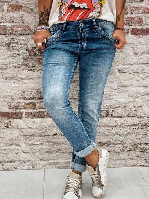 Blue Denim Simple Solid Pockets Pants