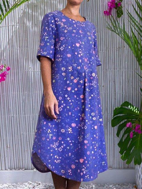 Floral Midi Dress Plus Size Crew Neck Dresses