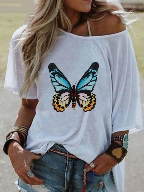 White Cotton Casual Animal Shirts & Tops