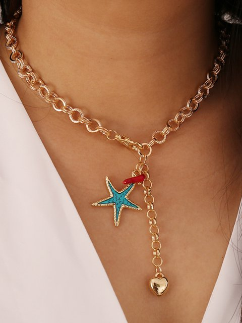 Women Starfish Alloy Heart  Necklaces