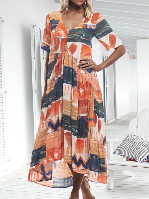 Plus Size Maxi Dress Summer Short Sleeve Dresses