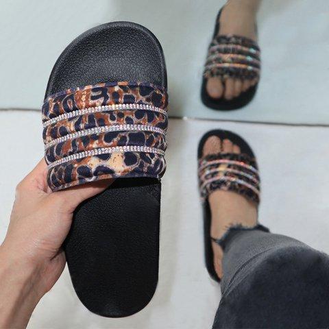 Flat Heel Open Toe Women Rhinestone Slippers