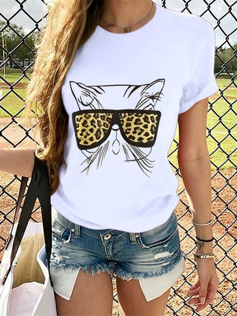Cat & Leopard Printed Short Sleeve Crew Neck Casual Shirt