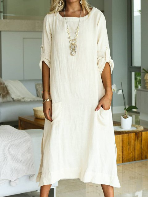Solid Pockets Maxi Dress Plus Size Long Sleeve Dresses
