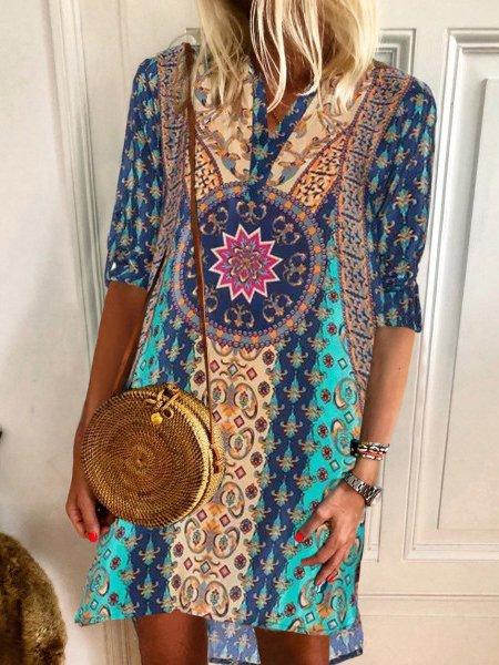 Boho V Neck Cotton-Blend Dresses