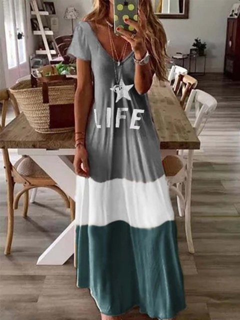 Gray Short Sleeve V Neck Printed Dresses