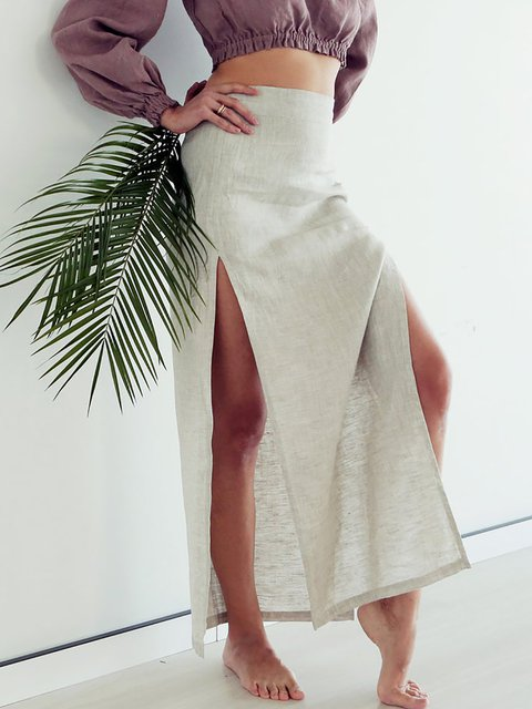 Casual Slits Cotton Linen Long Skirt