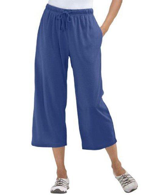 Women Pockets Drawstring Casual Shift Cropped Pants