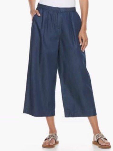 Women Pockets Casual Shift Cropped Pants