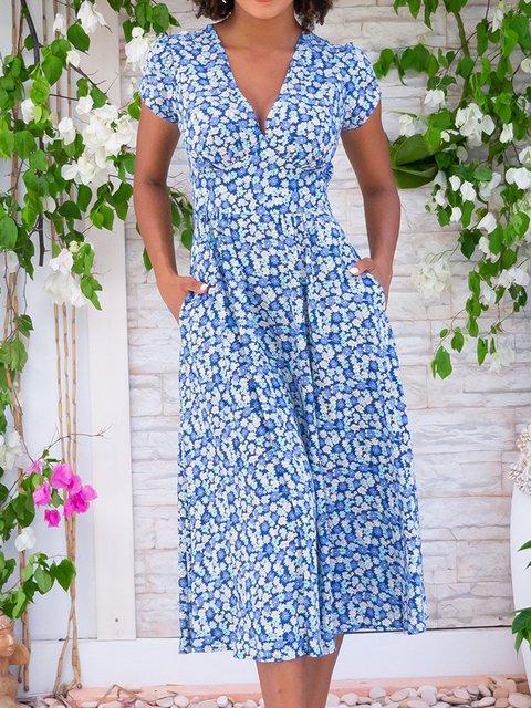Woemn Floral Kaftan Pockets Summer Dresses