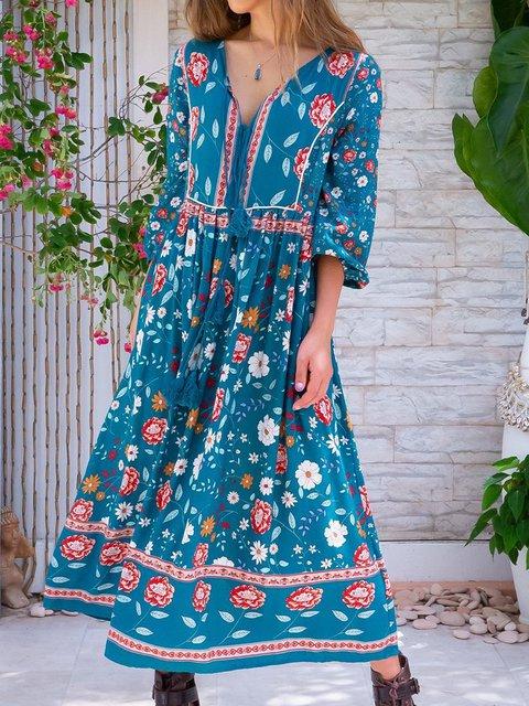 Women Floral Kaftan 3/4 Sleeve V-Neck Holiday Dresses