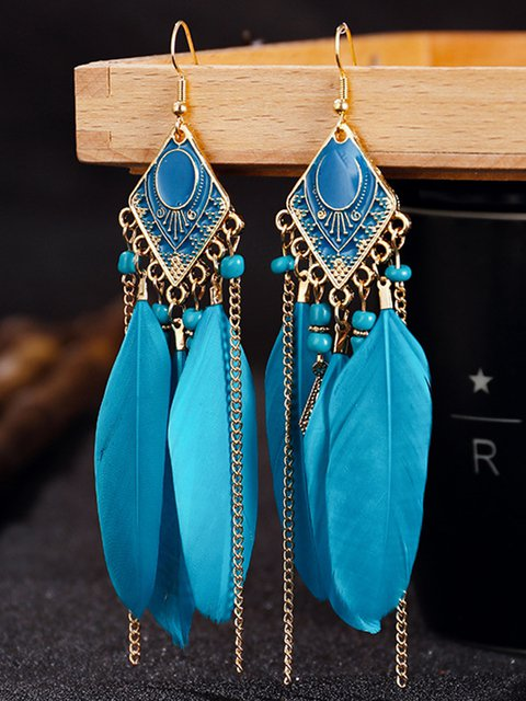 Women Feather Boho Alloy Earrings