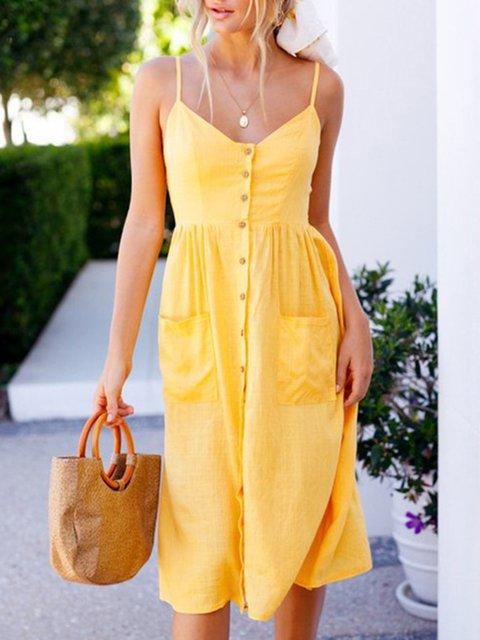 Cotton Blend Button Placket Front Midi Dresses