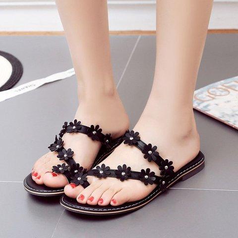 Women Slide Thong Sandals Flat Heel Flower Date Shoes