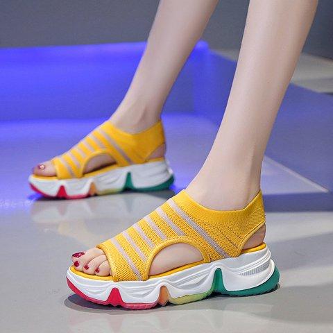Women Slide Peep Toe Fabric Daily Sandals
