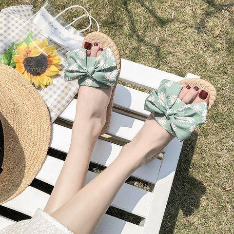 Women Slide Bowknot Homewear Flower Flat Heel Slippers
