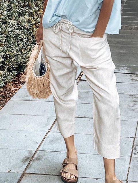 Light Khaki Casual Cotton Shift Pants