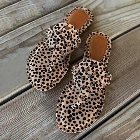 Leopard Beach Flat Heel Artificial Suede Summer Slippers