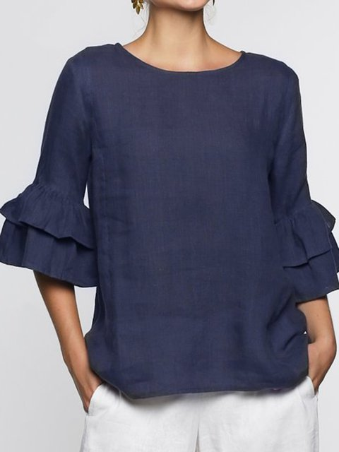 Solid Frill Sleeve Blouses Women Crew Neck Shirts