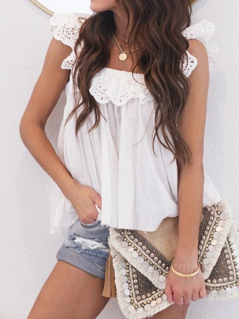 Solid Cotton-Blend Sleeveless Shirts & Tops