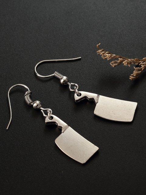 Women Alloy Knife Drop Earrings