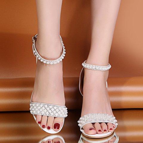 White Pearl Chunky Heel Sandals Open Toe Adjustable Buckle Heels