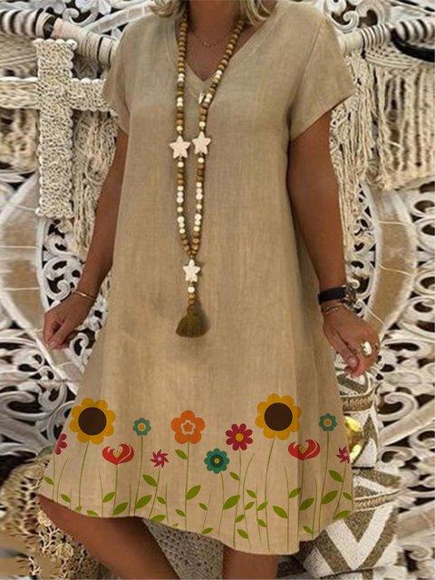 Casual Print V-neck Plus Size Dresses