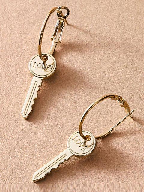Mini Key Alloy Love Earrings