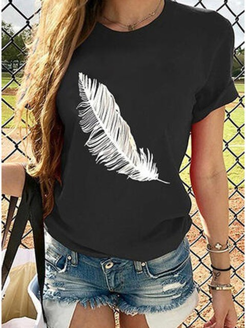Black Shift Daily Feather Printed Crew Neck Casual Shirts & Tops