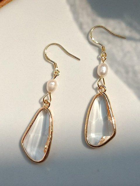 Women Pearl Alloy Crystal Earrings