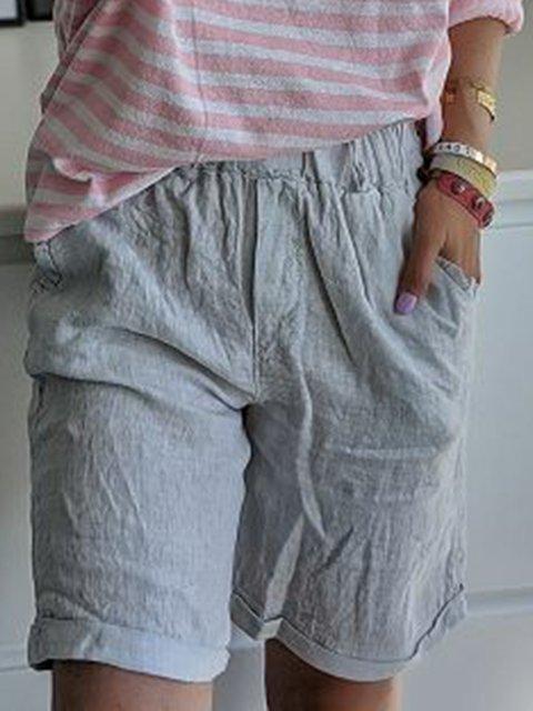 Women Pockets Elastic Waist Summer Casual Shorts