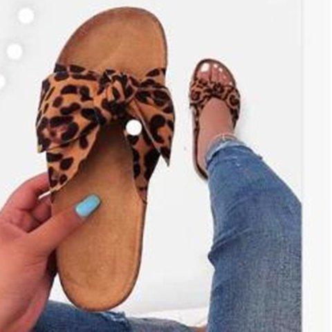Women Slide Peep Toe Bowknot Artificial Suede Flat Heel Sandals