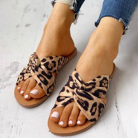 Women Slide Cloth Cross Pepp Toe Leopard Casual Summer Sandals