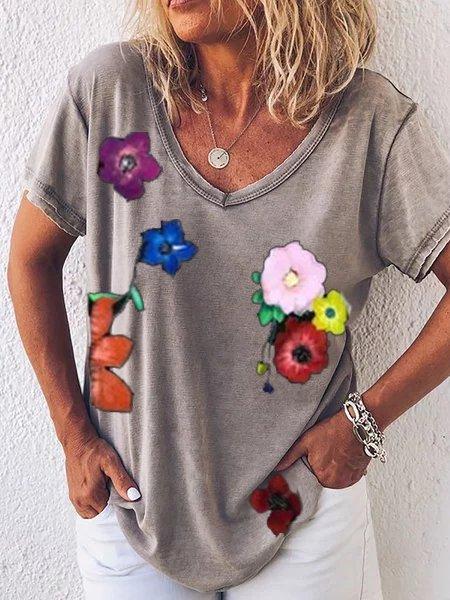 Floral Short Sleeve V Neck Cotton-Blend Shirts & Tops