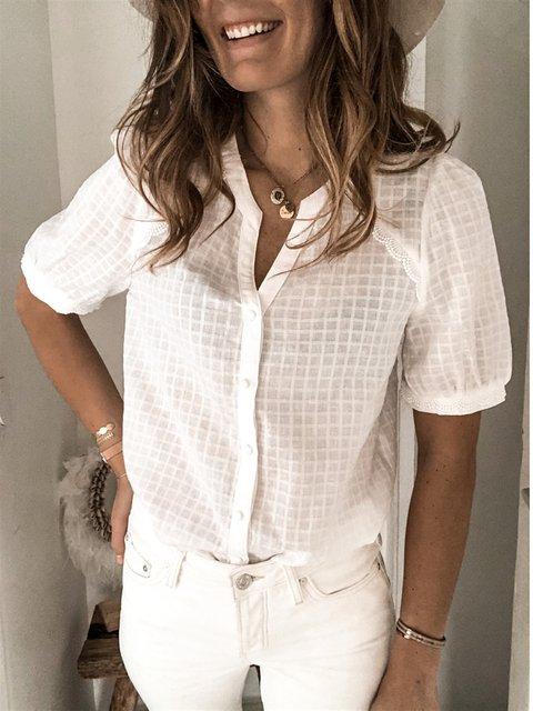 Short Sleeve Shift Casual Shirts & Tops