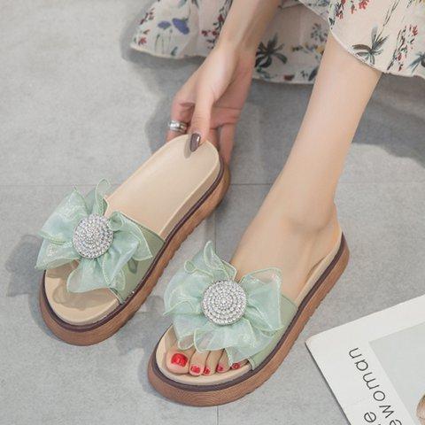 Women PU Creeper Heel Peep Toe Bowknot Sandals