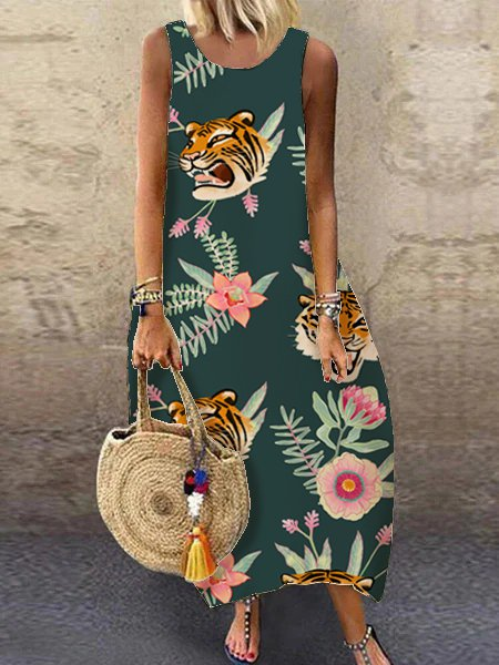 Off-the-shoulder casual tiger floral print dress and cocoon dress