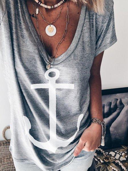 Women Boho Summer Tee V Neck Short Sleeve T Shirts