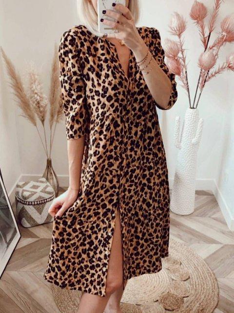 Khaki Floral-Print Casual Leopard Dresses