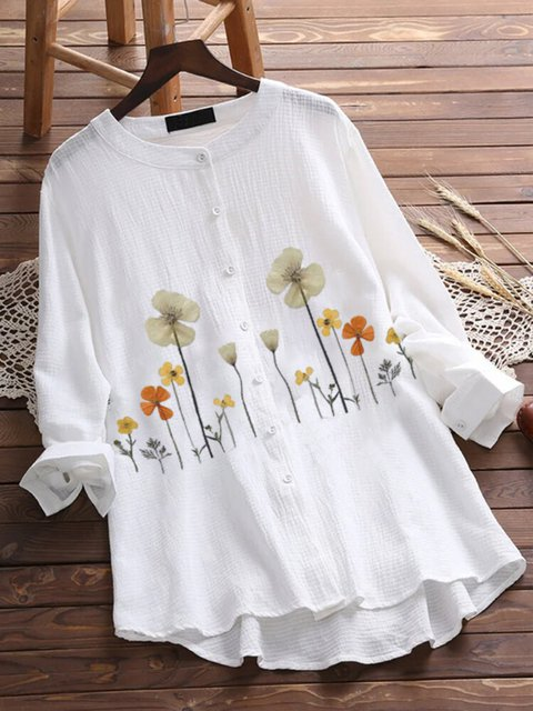 White Floral Cotton 3/4 Sleeve Floral-Print Shirts & Tops