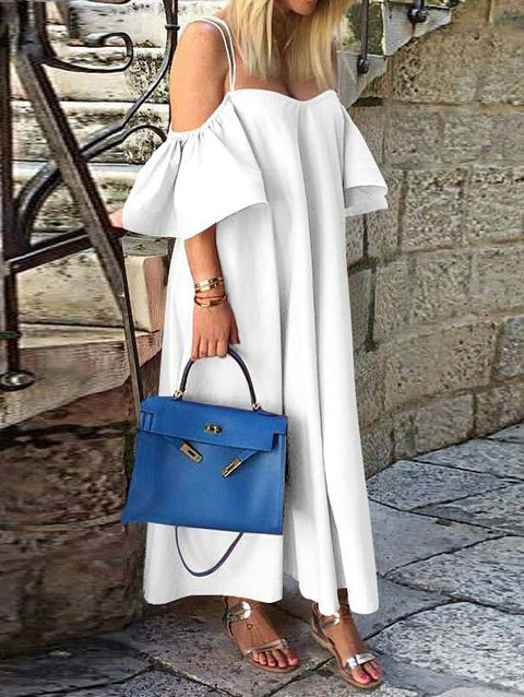 Casual Off Shoulder Short Sleeve Maxi Dresses