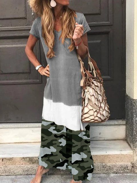 Camouflage Printed Gray Casual Short Sleeve Maxi Dress
