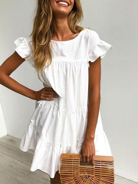 White Casual Cotton Short Sleeve Dresses